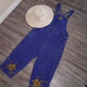 Denim Overalls with Gold Embroidered Flowers